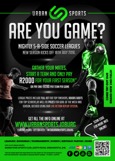 New 5-a-side soccer leagues kick off 18th July 2016